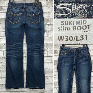 Silver Jeans SUKI Mid Slim Boot W30 L31 Flap Pockt